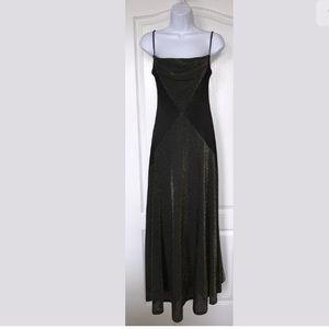Cache' Tadashi Vtg Metallic Maxi Dress Black Gold